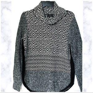 Lucky | Knit Patterned Cowl Neck Sweater Sz M EUC
